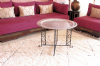 Moroccan  Vintage Aluminium Tray Or Table with Wrought Iron Legs Diameter 76 cm. 30'' (ALT9)